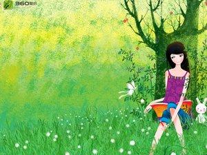安卓动漫 卡通 插画 手绘 可爱 画儿晴天 树下手机壁纸