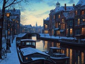 安卓风景 小镇风景 雪中小镇 宁静美丽 宽屏手机壁纸