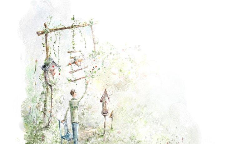 安卓设计 手绘 插画 爱情 白色手机壁纸