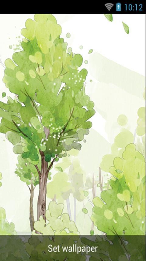 清新树林水彩风格,动态壁纸,树木,随风摇动   片片树叶飘落,意境优美